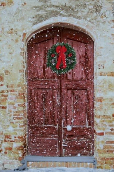 Red Door with a Wreath
