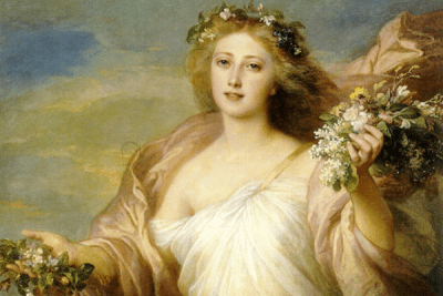 Lady with Spring flowers