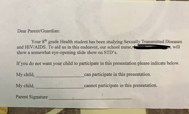 vague permission slip from schooll